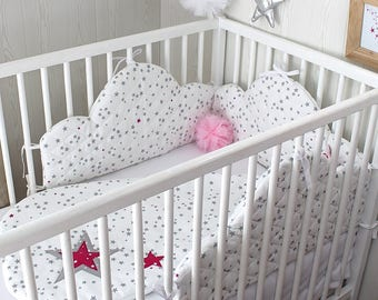 Baby cloud printed bumper grey and pink stars, 180cm long