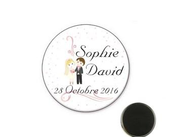 Wedding name magnet size 32 mm