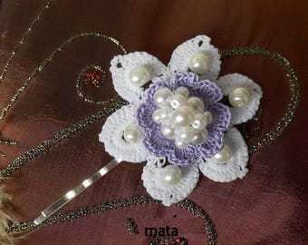violete crochet flower hair clip
