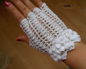 white crochet fingerless