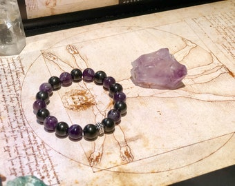 Shungite bracelet with amethyst  S-M, emf protecting and chakra healing, fullerene jewelry,magic stone, pagan bracelet,reiki crystals