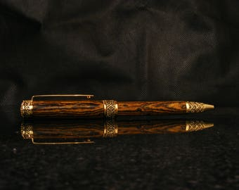 Beautiful Handcrafted Pen in Exotic Bocote Wood with 24k Gold