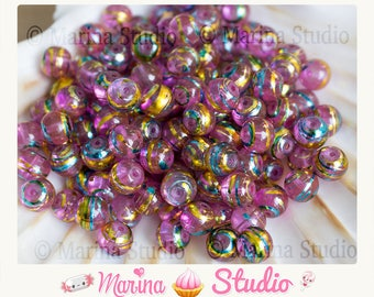 25 pink effect murano style glass beads, 9x8mm
