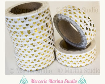 Real washi tape gold gilded hearts 10 M rice paper