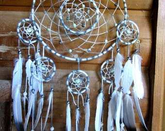 Dream catcher complex / grey and white / pigeon feathers / actual 70 cm