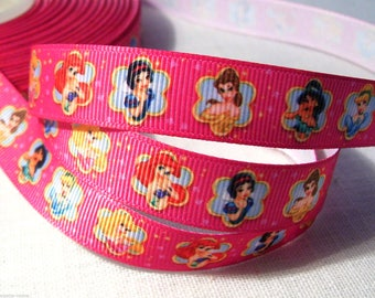 Printed grosgrain Ribbon * 16 mm * Princess CABOCHON pink - sold by the yard