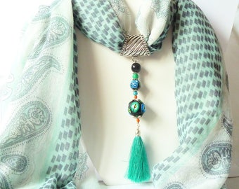 Jewelry scarf with Pompom polymer clay beads and large scarf