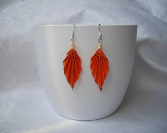 Origami leaf earrings