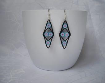Modern diamond earrings, quilling, paper