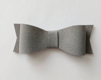 Gray suede bow // suede bow // leather bow // gray bow // 3 inch bow // neutral bow // alligator clip // nylon headband // baby shower gift