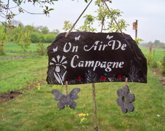 """Slate decoration for the garden sign, sign-""""a country look"""""""