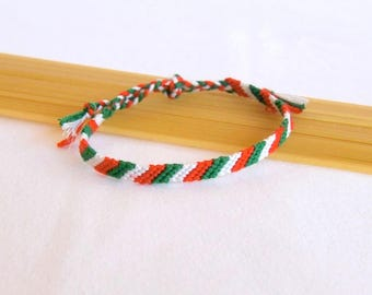 Friendship Bracelet green white red Italian flag colors of the bracelet men women Brasilda Italia Italy