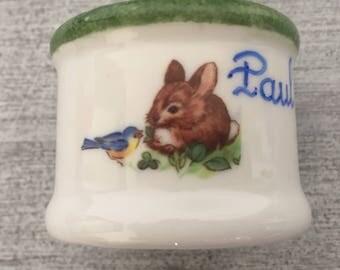 "Napkin ring deco ""Bunny"" porcelain child/baby name Green"