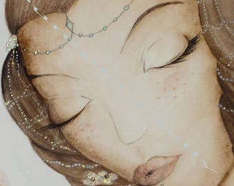 """Watercolor original pattern """"Sleep with a fairy"""""""