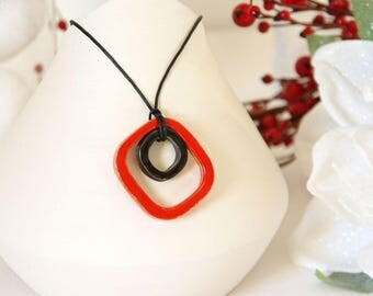 Red and black glazed ceramic Square1 pendant