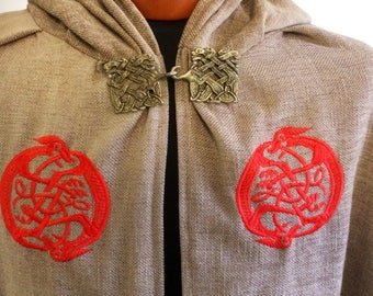Viking cloak with embroidery and Nordic clasp