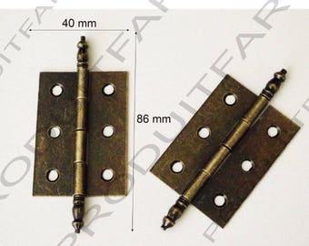 Set of 4 Bronze door large hinges chest trunk great resistance 86 x 40 mm