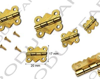 Set of 12 hinge 20x17mm color gold box jewelry box described screws included.