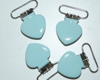 Pacifier clip blue heart