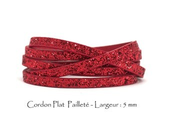 95 CM - glitter - w leather cord: 5 mm / Ep. : 2 mm - Red