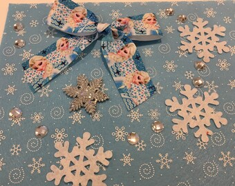 "Scrapbooking Kit ""Elsa"" felt appliques, bow and rhinestone"