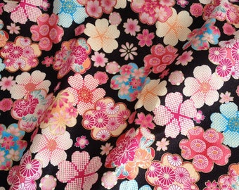 Japanese fabric, flowers, black background, cotton 110 x 50 (007)