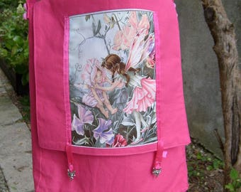 Pink cotton fabric Messenger bag with fairy image