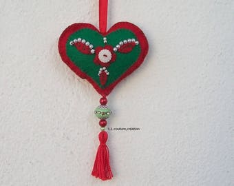 embroidered red and green felt heart