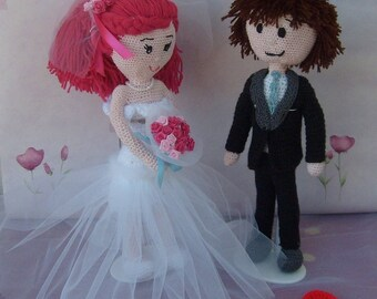 married couple crocheted wool
