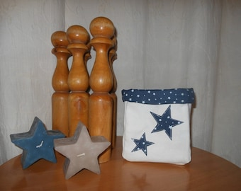 BASKET linen white and blue stars fabric