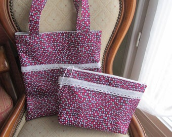 Pool (fancy print) canvas bag and its matching pouch
