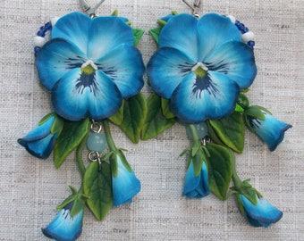 Pansy flower Earrings Pansies drop earrings Blue flower earrings Blue earrings jewelry Flower earrings Pansies Jewelery handmade