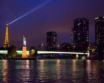 Eiffel Tower, Statue of Liberty, Seine River, Paris Night