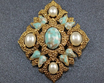 Sarah Coventry Gold, Pearl, Faux Turquoise Pin/Brooch
