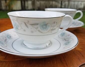 ENGLISH GARDEN (platinum trim) Tea Cups & Saucers (Fine China of Japan)