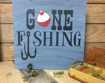 Gone Fishing. Mancave accessories. Fishing sign. Gone Fishing sign. wooden sign.