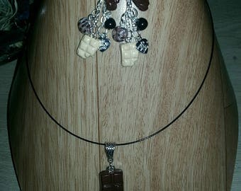 Complete set chocolate 15th necklace and earrings