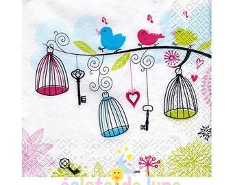 2 napkins paper bird motifs on a branch 33 / 33cm