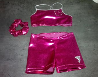 all BRA, shorts and scrunchie perfect for the practice of the gym, dance, circus...