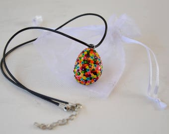 Its hand painted Pebble pendant necklace