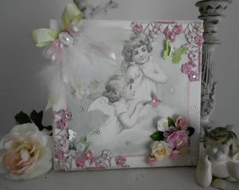 """Vintage/romantic Style painting, """"Angels in prayer among the Roses"""""""