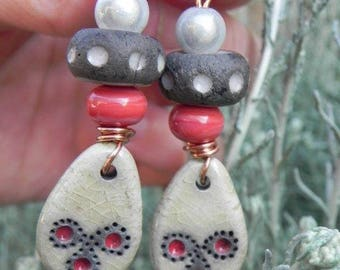 Beautiful handcrafted ceramic and glass earrings