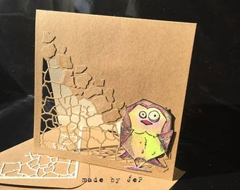 card background openwork bird in relief for all occasions
