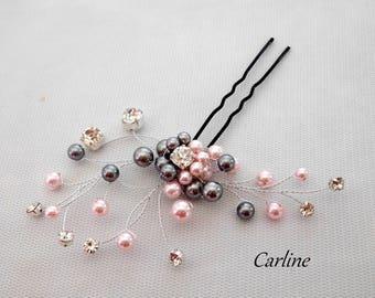 Bun hair wedding hair rhinestone and Pearl Nacreesswarovski jewelry pink light gray