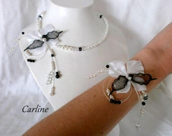 Nolween Butterfly black white satin and organza flower bridal set