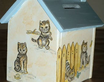 Wood-handmade - kittens Money Bank