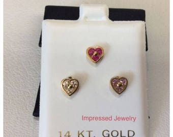 14K Yellow Real Gold Heart Bezel 6mm Screw Back Stud 3 stones Stud Earrings Children women