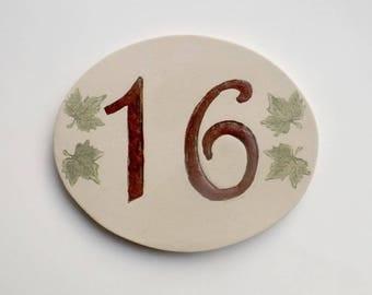 Door number, original oval shape, number 16 deco Ivy leaves