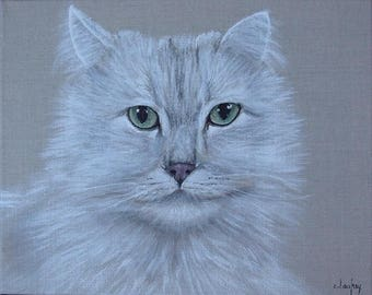"Table ""angora cat"", painting on natural linen"