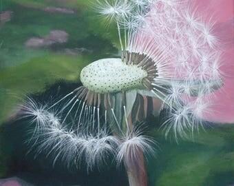 """Painting """"Dandelion flower"""", Acrylic paint, size 30 x 30 cm"""